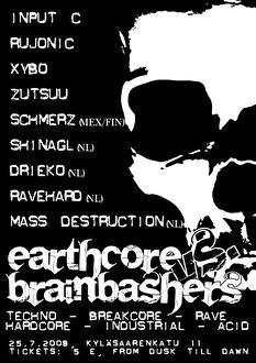 Earthcore vs Brainbashers (flyer)
