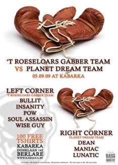 Roeseloars Gabberteam vs Planet Dreamteam (flyer)