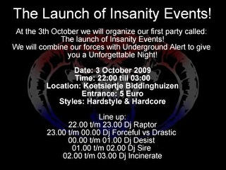 The Launch of Insanity Events (flyer)
