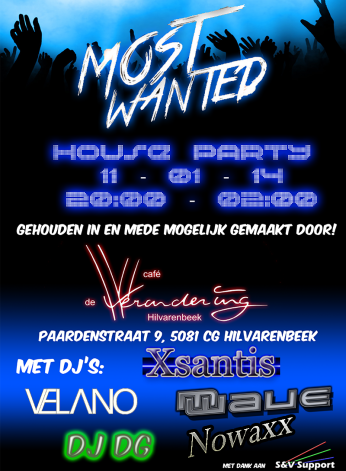 Most Wanted House Party (flyer)