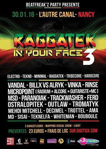 Raggatek In Your Face (flyer)