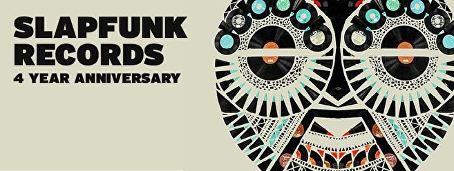 Slapfunk records 4 year anniversary (flyer)