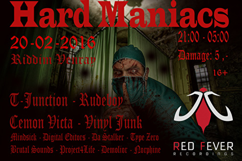 Hard Maniacs invites Red Fever Recordings (flyer)