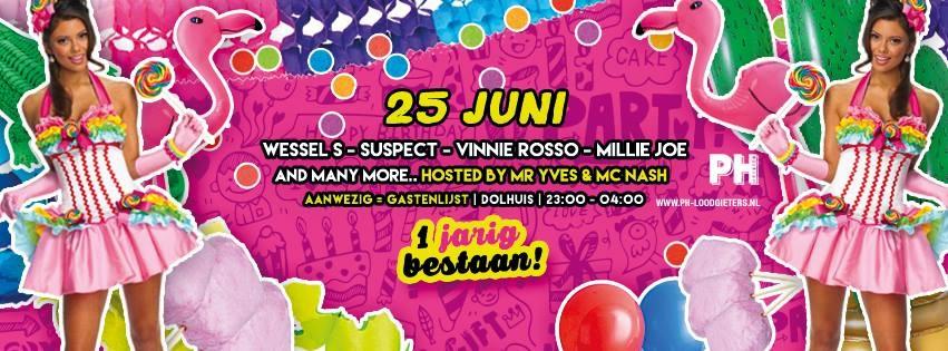 jarig op 25 juni Huisje Boompje Feestje · Één jarig bestaan · 25 juni 2016, Dolhuis  jarig op 25 juni